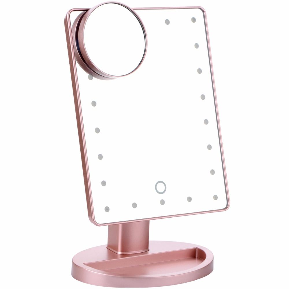 Rotation Daily Cosmetic Mirror Rose Gold Makeup Mirrors With 22 Led